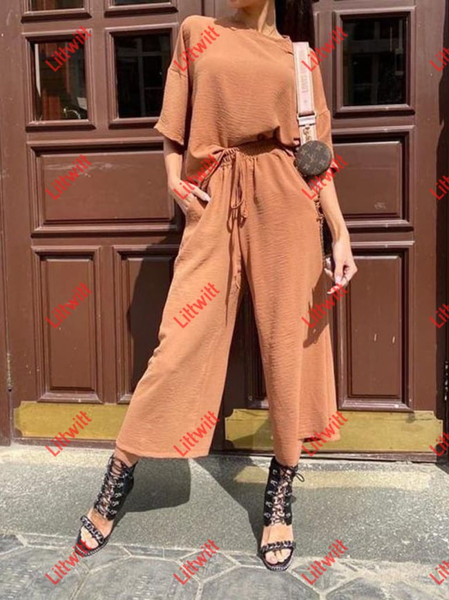 Casual Fashion Loose Wide Leg Pants Short Sleeves Suit Orange / S