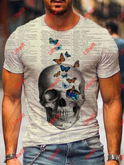 Mens Trendy Butterfly And Skull Dictionary Page Print Crew Neck Short Sleeve T-Shirt As Pic / S