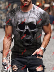 Mens Short Sleeve Skull Print T-Shirt As Pic / S