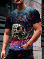 Mens Trendy Butterfly Skull Art Print Short Sleeve Round Neck T-Shirt As Pic / S