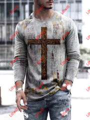 Mens Faith Art Print Trendy Round Neck Long Sleeve Shirt