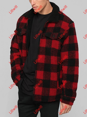 Red Plaid Lapel Plush Warm Mens Clothing Red / S