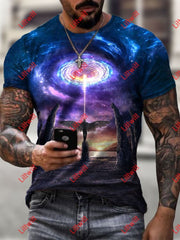 Mens Trendy Soul Ascending Art Print Short Sleeve Crew Neck T-Shirt As Pic / S