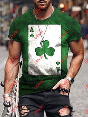 Mens Trendy Ace Of Shamrock Green Art Print Short Sleeve Crew Neck T-Shirt As Pic / S