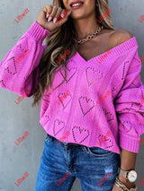 Heart-Shaped Loose Knit Sweater Red / S