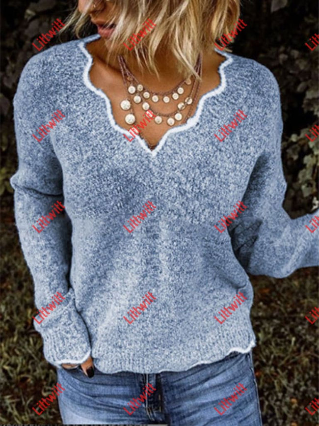 Autumn And Winter V-Neck Casual Sweater Blue / S
