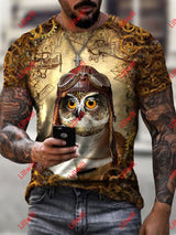 Mens Steampunk Owl Art Print Short Sleeve Crew Neck T-Shirt As Pic / S