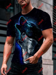 Mens Night Wolf Roaring With Shawdow 3D Print Trendy T-Shirt As Pic / S