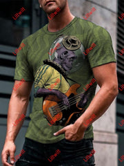 Mens Super Space Bass Money Art Print Round Neck T-Shirt As Pic / S