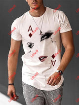Human Face Playing Cards Printed Shirt White / S