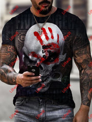 Mens Trendy Five Finger Death Punch Skull Art Print Short Sleeve Round Neck T-Shirt As Pic / S