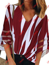 2020 New V-Neck Striped Printed T-Shirt Red / S