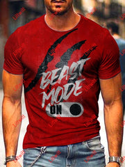 Mens Beast Mode Print Short Sleeve T-Shirt As Pic / S