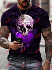 Mens Casual Purple Heart Diamond Skull Art Print Short Sleeve Round Neck T-Shirt As Pic / S