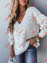 Heart-Shaped Loose Knit Sweater White / S