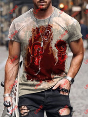 Mens Boxing Bear Warrior Art Round Neck Print T-Shirt As Pic / S