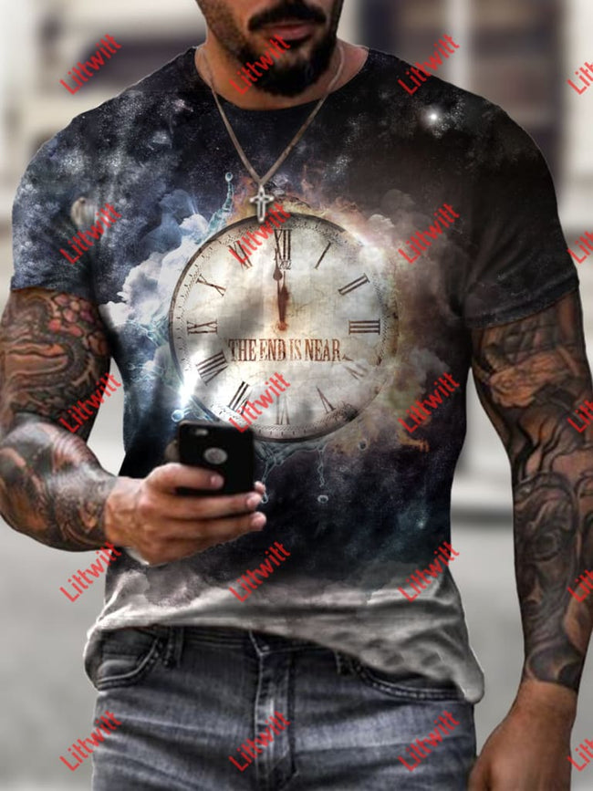 Mens Casual Jesus Is Coming Art Print Short Sleeve Round Neck T-Shirt As Pic / S
