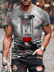 Mens Creative The Bleeding Hourglass Art Print Short Sleeve Round Neck T-Shirt As Pic / S