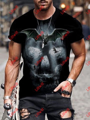Mens Trendy Bat Skull Dark Art Print Short Sleeve Round Neck T-Shirt As Pic / S