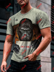 Mens King Kong Boss Try Me Funny Art Print T-Shirt As Pic / S