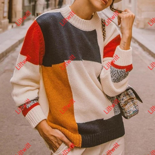 Streetwear Printed Color Round Neck Long Sleeve Sweater Sweaters