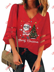 Merry Christmas V-Neck Mesh Pagoda Sleeve Blouse Red / S