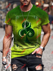 Mens Creative Ace Of Clubs Green Art Print Short Sleeve Crew Neck T-Shirt As Pic / S