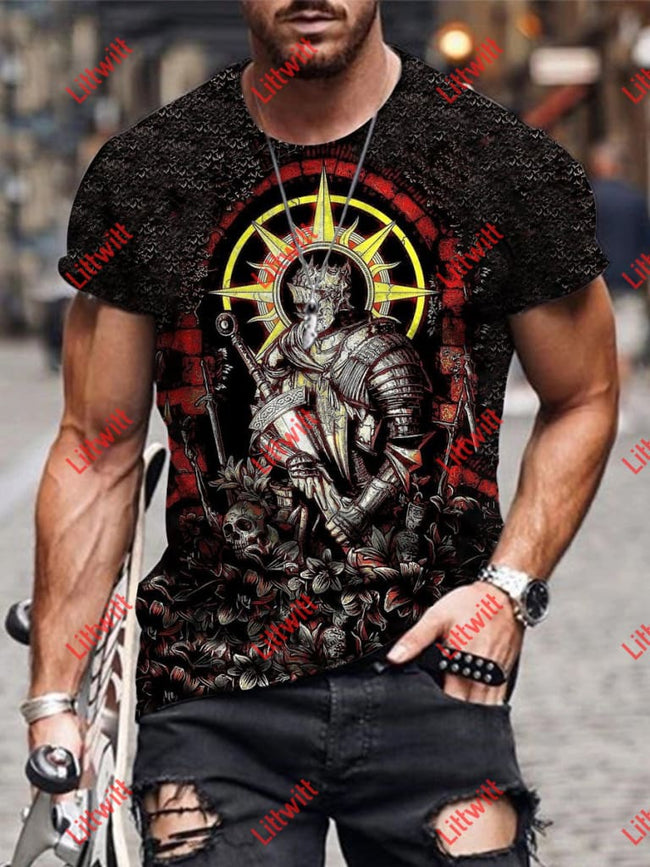 Mens Skull Warrior Art Print Round Neck T-Shirt As Pic / S