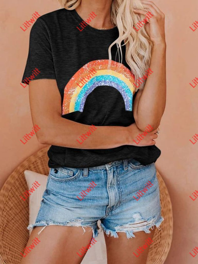 Round Neck Short Sleeve Rainbow Tee S / Black