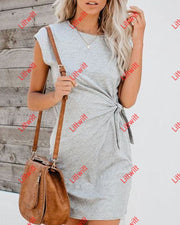 V-Neck Ruffled Lace-Up Dress M / Grey Dresses