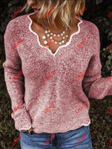 Autumn And Winter V-Neck Casual Sweater Pink / S