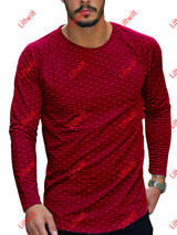 Dot Slim Round Neck Long-Sleeved T-Shirt Red / S