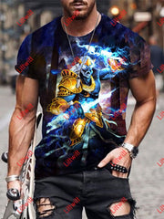 Mens Creative Angry Zeus Art Print Short Sleeve Crew Neck T-Shirt As Pic / S