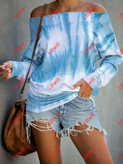 Long Sleeve Off-Shoulder Tie-Dye Printed T-Shirt Sky_Blue / S