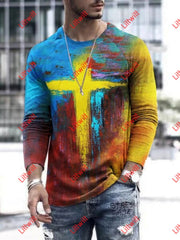 Mens Oil Painting Faith Jesus Cross Print Casual Long Sleeve T-Shirt
