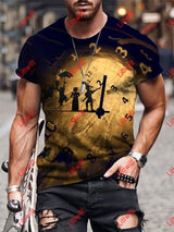 Mens Casual Abstract Clock Art Print Short Sleeve Round Neck T-Shirt As Pic / S