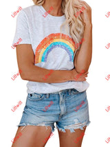 Round Neck Short Sleeve Rainbow Tee