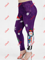Elastic Christmas Day Printing Skinny Pants Purple / S