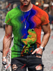 Mens Trippy Frog Art Print Round Neck T-Shirt