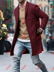 Winter Lapel Casual Mens Woolen Coat Red / M