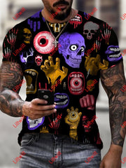 Mens Creative Eyes And Skull Art Print Short Sleeve Crew Neck T-Shirt As Pic / S