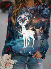 Creative Deer Printed Sweatshirt