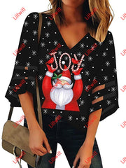Merry Christmas V-Neck Mesh Pagoda Sleeve Blouse Black / S