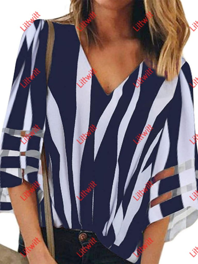 2020 New V-Neck Striped Printed T-Shirt Blue / S