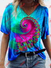 Spiralling Fractal Creative Print T-Shirt As Pic / S