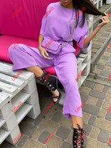 Casual Fashion Loose Wide Leg Pants Short Sleeves Suit Purple / S