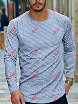 Dot Slim Round Neck Long-Sleeved T-Shirt Grey / S