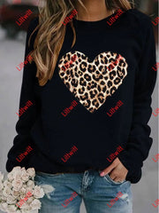 Valentines Day Leopard Printed Round Neck Sweatshirt Black / S