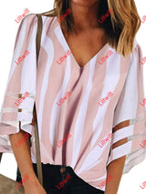 2020 New V-Neck Striped Printed T-Shirt Pink / S