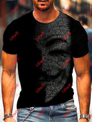 Mens Cyber Language Creative Art Print Crew Neck T-Shirt As Pic / S